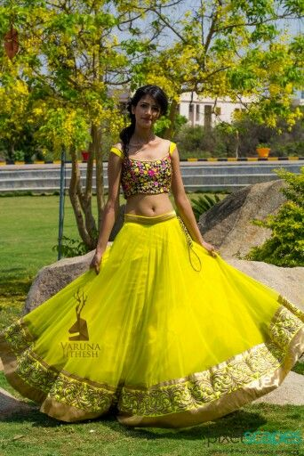 Absolutely adore this playful yellow lehnga with a floral blouse.