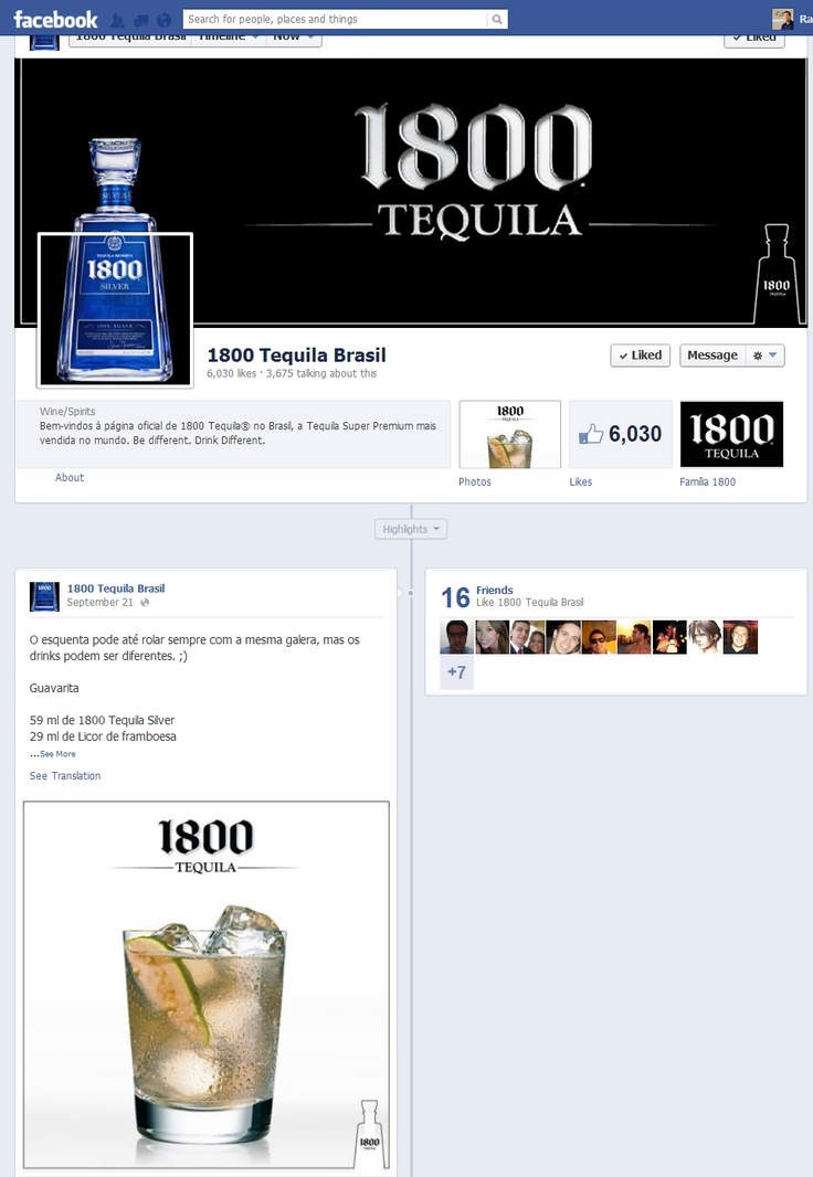 Criação de operação da Tequila Super Premium 1800 no Facebook.