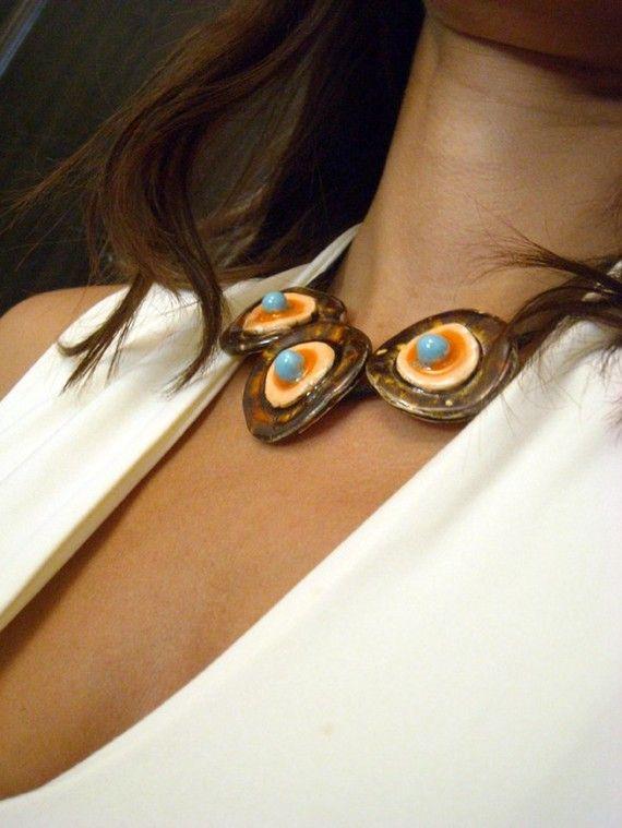 ceramic Necklace honey orange and turquoise - New Autumn Collection
