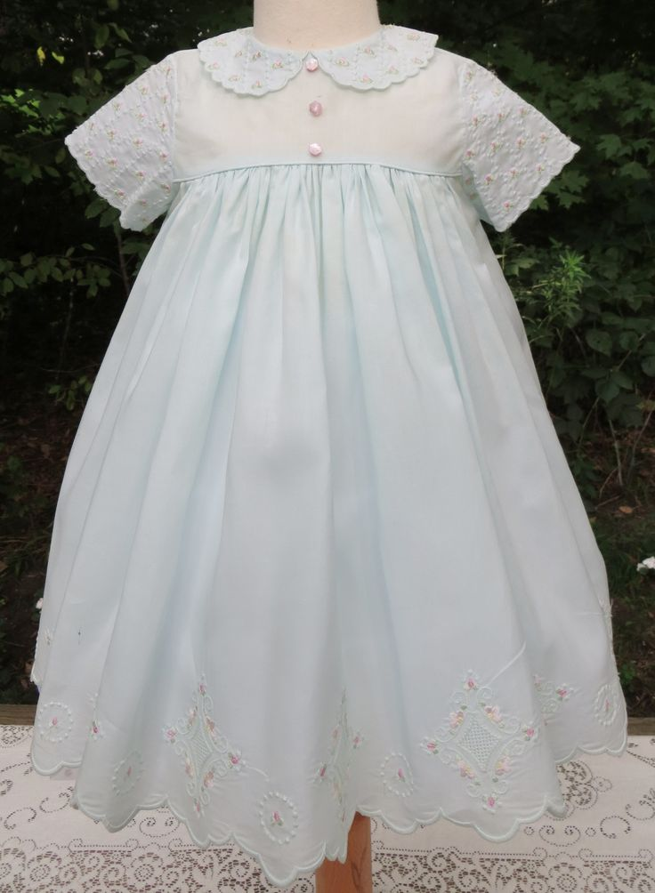 Short Green Baby Dress Stitched In The Hoop With Floral