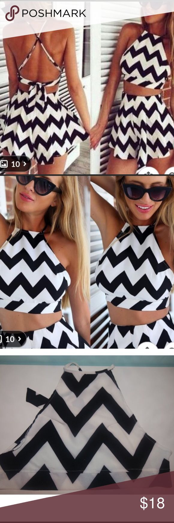 Crop top and shorts Two piece black and white chevron crop top and flowy shorts Other