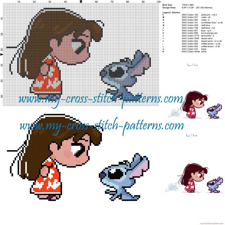 Lilo and Stitch cross stitch pattern                                                                                                                                                                                 More