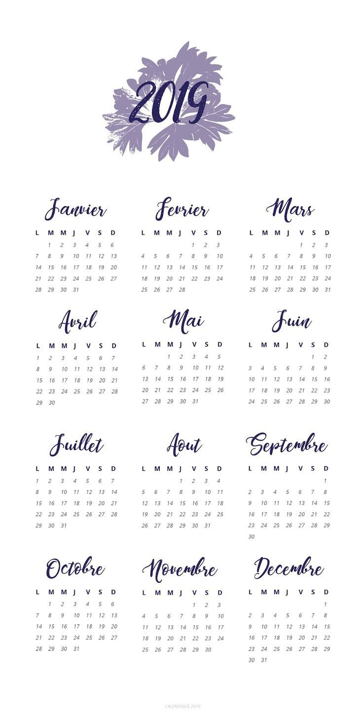 Calendrier Free 2019.12 Flowery Calendar 2019 For Bujo Bullet Journal 2019