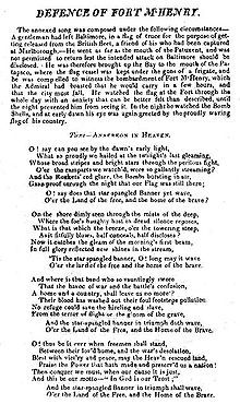 """Copied form wikipedia-One of two surviving copies of the 1814 broadside printing of the """"Defence of Fort McHenry"""", a poem that later became the lyrics of the national anthem of the United States."""