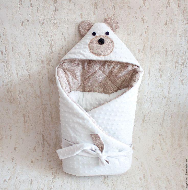 Купить Конверт - одеяло на выписку - комбинированный, орнамент, мишка, конверт, конверт на выписку, для малыша, девочке