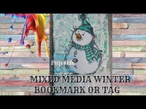 Mixed media Snowman tag or bookmark with Craft Sensations