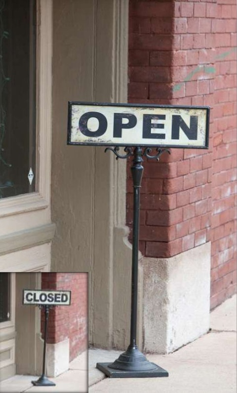 cute open/closed sign for a small shop...