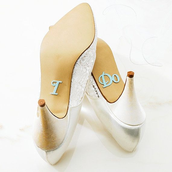 Glitter I DO Shoe Stickers in Light Blue AB by panachebride, $8.49