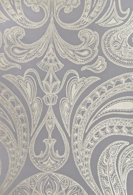 Malabar Wallpaper Dark Lilac Grey wallpaper with large metallic silver Paisley design in white.