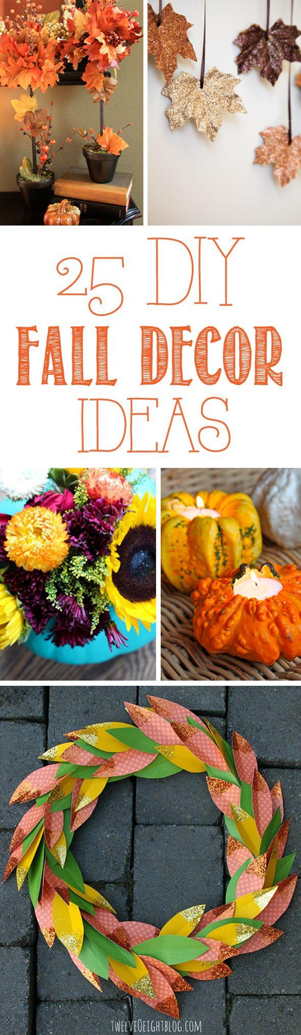 25 DIY Fall Decor Ideas - Pretty My Party #diy #fall #decor #ideas