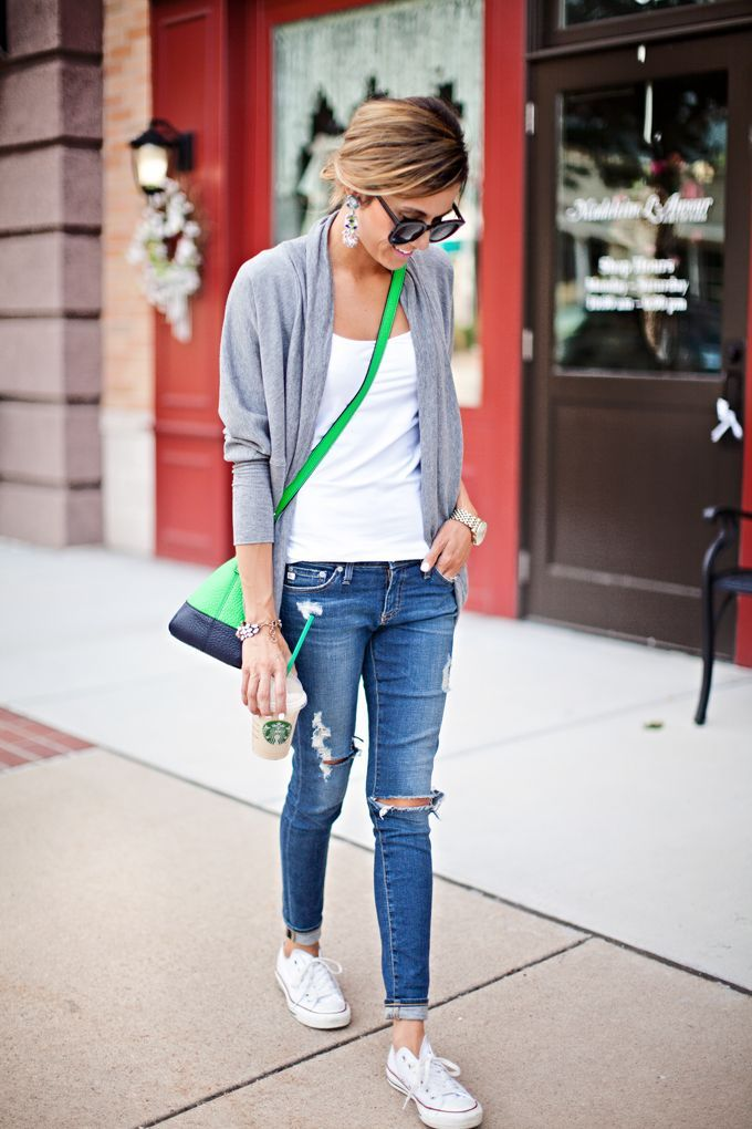 white top with cardigan, white converse and roll dem jeans up