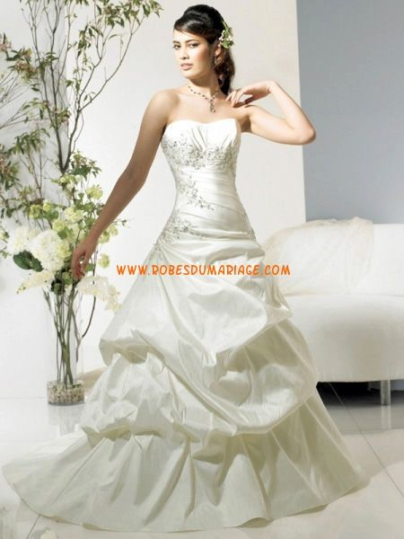 Modest bustier perles ballon robe de mariée 2011 longue avec perle taffetas