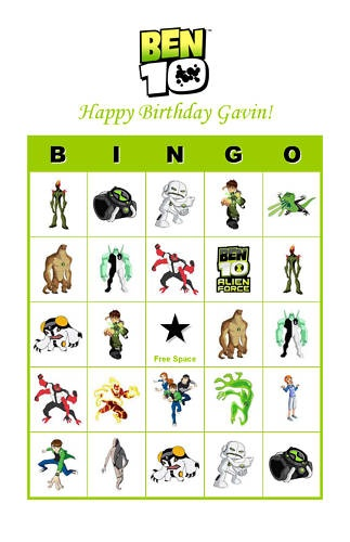Ben 10 Birthday Party Game Bingo Cards | eBay