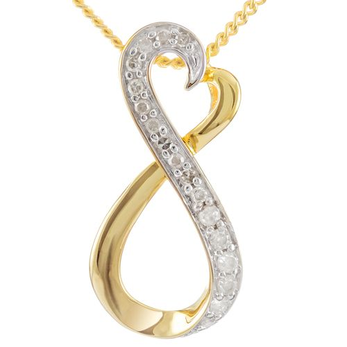 9ct Yellow Gold Diamond Infinity Heart Pendant only $112 - purejewels.com.au