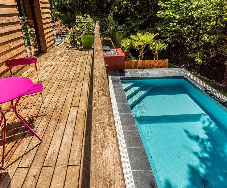 jardin exotique avec piscine. Esprit jungle sauvage. Palmier, fleurs exotiques, piscine design. Salon de jardin rose et terrasse en bois.