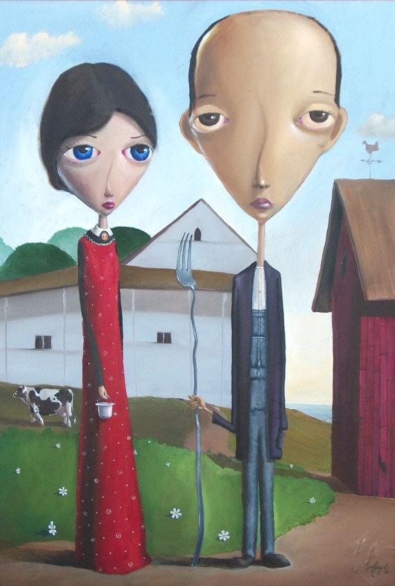American Gothic 2010 Version, Pop Surrealism Version by geoffreygersten, $19.00