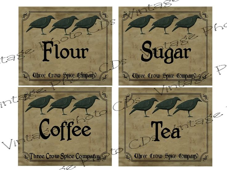 free images primitive lables | Primitive Canister Labels FH139 Flour Sugar Coffee Tea for Jars Cans ...