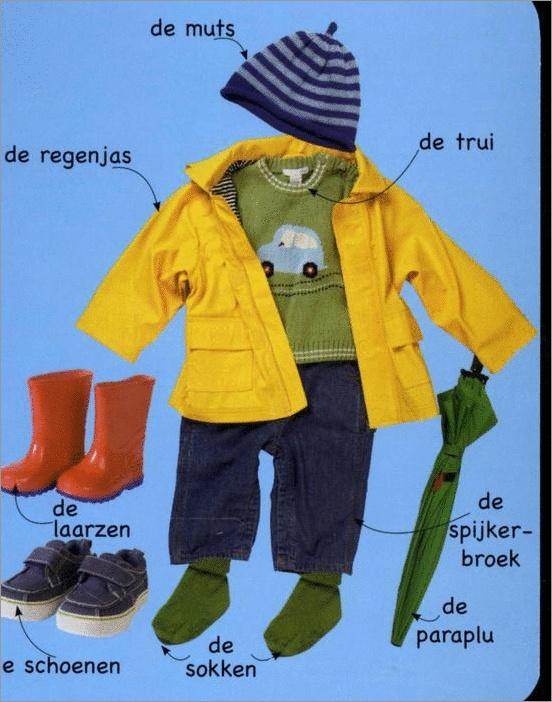 Kleren voor het regen-seizoen - Clothes for the rainy season. Visit: www.emilieslanguages.com or https://www.facebook.com/emilieslanguages #emilieslanguages  #dutch #darwin #clothes