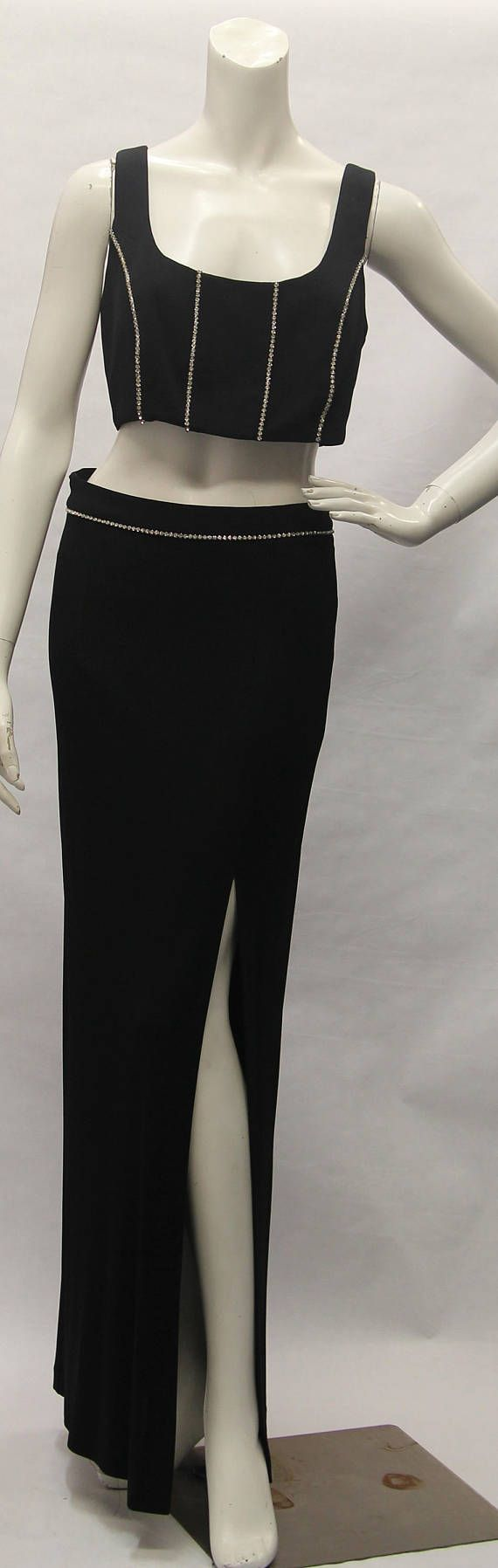 1990's DAVE and JOHNNY Black 2 Piece Women Maxi Skirt Set