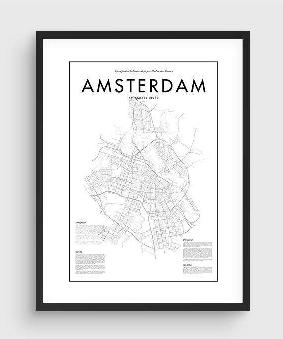 Minimal Amsterdam Map Poster Black & White Minimal door PurePrint