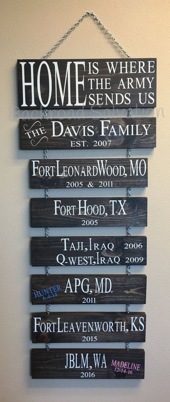 Home is where the Army (Marines, Air Force, Coast Guard, Navy) sends us sign. We all know that when youre in the Military you get moved around every few years. What better way to remember the stations than by having this patriotic sign. This listing is for a 6x16 hand painted wooden sign it is 1 thick.  Family sign (4x16) is an additional $8/each  Duty station/name signs (4x14) are an additional $6/each  At checkout in notes to seller section - please list details that includes...