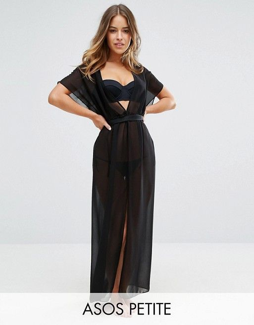 ASOS PETITE Chiffon Maxi Beach Caftan with Self Belt. love this swimsuit cover!
