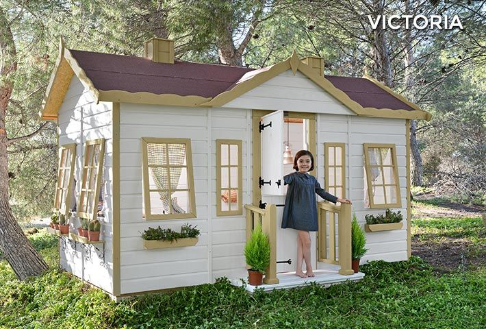 Casa de madera para ni os victoria casita de madera infantil de ensue o big dreams playhouses - Casa madera infantil ...
