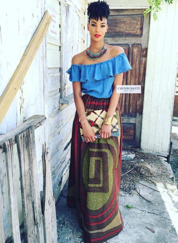 African Print Maxi  The Ebony Maxi Skirt by CHENBURKETTNY on Etsy