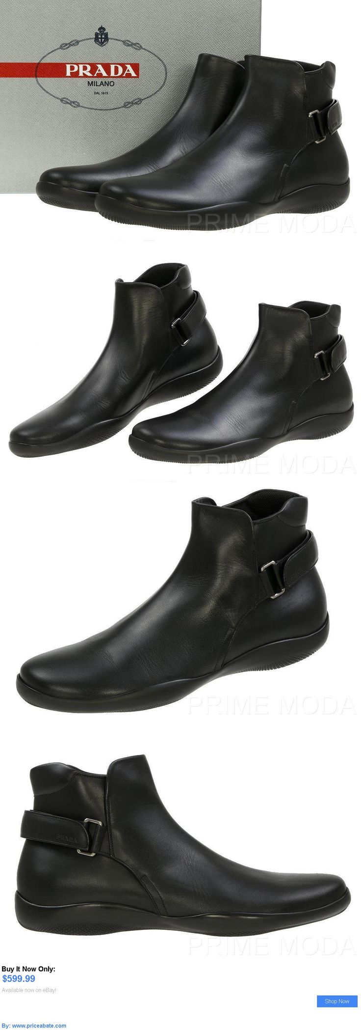 Men Shoes: New Prada Mens Black Leather Logo Ankle Boots Shoes 10/Us 11 BUY IT NOW ONLY: $599.99 #priceabateMenShoes OR #priceabate