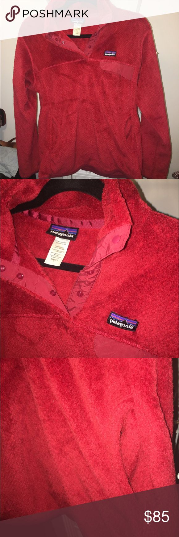 Womens Patagonia Jacket with Kangaroo Pouch red fleece jacket only worn a couple times!!! Patagonia Jackets & Coats