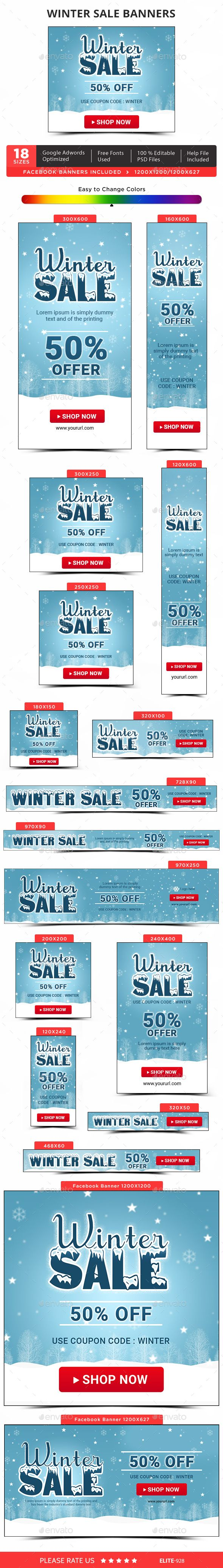Winter Sale Banners — Photoshop PSD #deals #marketing • Available here → https://graphicriver.net/item/winter-sale-banners/13979331?ref=pxcr
