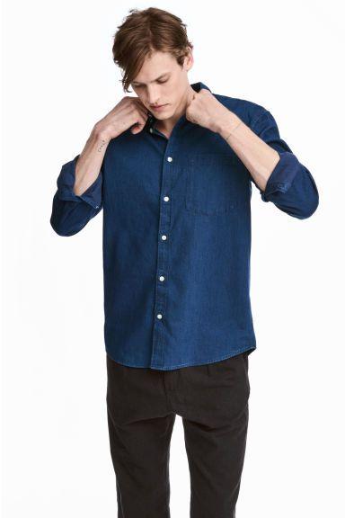 Camisa vaquera Regular fit - Azul denim oscuro - HOMBRE | H&M ES 1