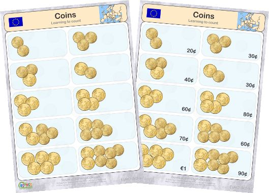 Learn to recognise and count EURO banknotes & coins - counting coins 1