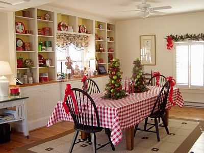 Farmhouse Christmas Table - Would love to do a wall of shelves like these along the west wall in our dining room.