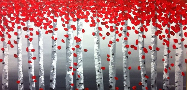 Original textured acrylic red birch tree abstract landscape