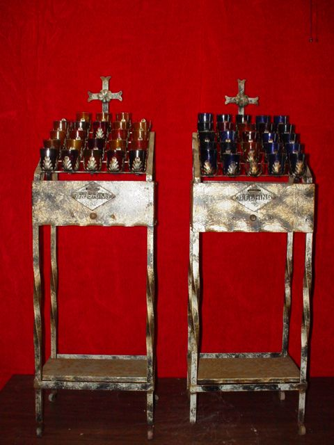 antique votive candle stand old cathedrals abbeys