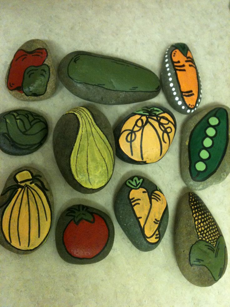 Hand painted stone garden markers pebbles and stones - Hand painted garden stones ...