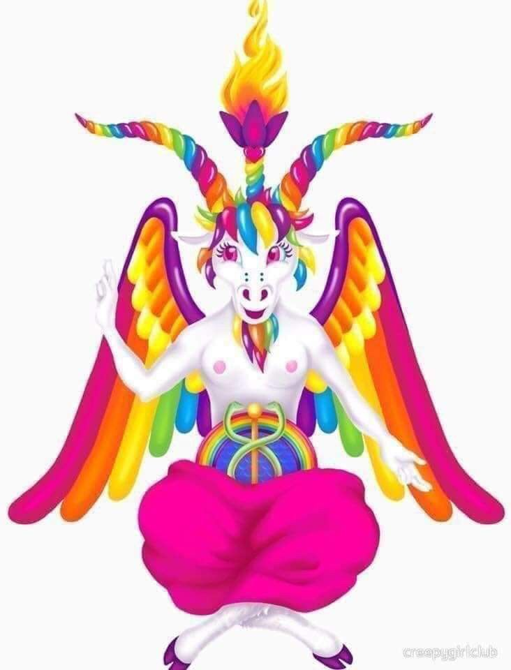 Lisa Frank Inspired Demon Scurvys Concept Art Culinary Abominations And Other Curiosities In 2019 Neon Rainbow Unicorn Baphomet