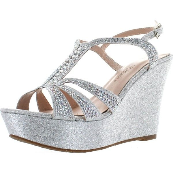 De Blossom Collection Womens Aria-1 Dress Wedge Sparkle Party Sandals... ($45) ❤ liked on Polyvore featuring shoes, sandals, wedge heel sandals, silver wedge shoes, sparkly sandals, wedges shoes and silver sparkly sandals