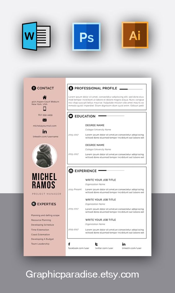 Resume template, Professional resume template instant ...