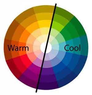 Bij een warm-/koud-contrast gaat het om de tegenstelling tussen warme en een koude kleur die naast elkaar gebruikt zijn. Rode en oranje kleuren lijken warmer dan blauwe.