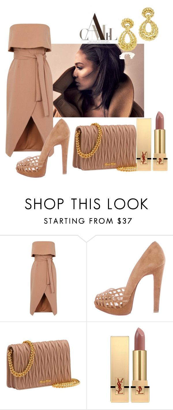 """""""Camel"""" by sofiacalo ❤ liked on Polyvore featuring Christian Louboutin and Yves Saint Laurent"""