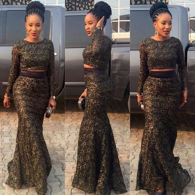 ♥Gorgeous lace Ankara outfit