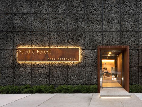 entrance + signage Food & Forest park restaurant on Interior Design Served
