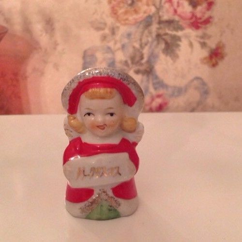 Adorable vtg. Japan Christmas angel Bell, Reads: Merry Christmas in Japanese