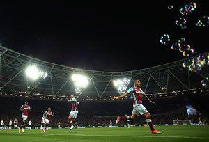 Manuel Lanzini celebrates scoring the winning goal for West Ham.