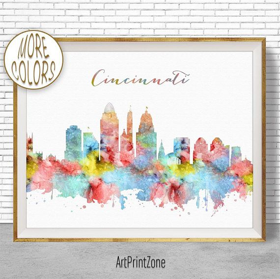 $8.00 Cincinnati Art Print, Cincinnati Skyline, Cincinnati Ohio, Office Decor, Office Art, Watercolor Skyline, City Wall Art Print, ArtPrintZone #CincinnatiOhio #ArtPrintZone #OfficeDecor #CitySkylineArt #WatercolorSkyline #ArtPrint #OfficeArt #CincinnatiSkyline #CiySkylinePrints #cincinnati