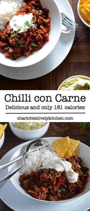 What's not to love about this chilli con carne recipe, it tastes delicious, it's cheap and simple to make, it's one of your five-a-day, it freezes so you can make a big batch and save some for another day, and best of all it's only 181 calories so I can have an ice cream for pudding without feeling guilty.