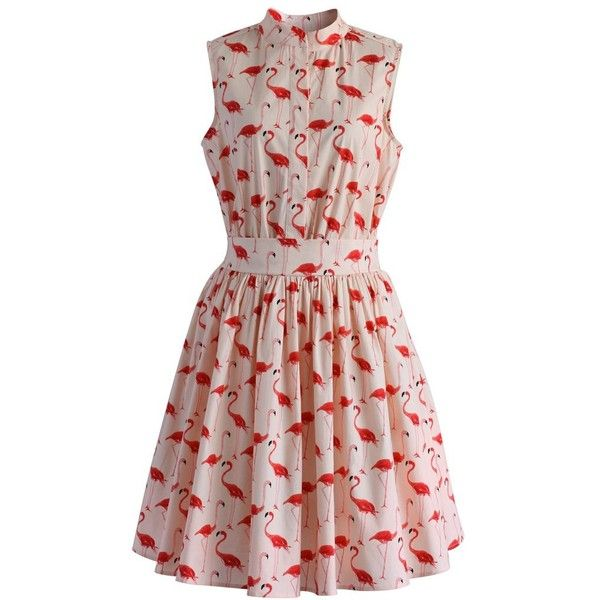 Chicwish Flamingo Fun Flare Print Dress (£42) ❤ liked on Polyvore featuring dresses, pink, button dress, flared dress, flare dress, pattern dress and pink dress
