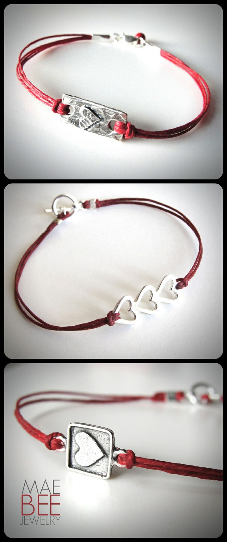 Sterling on red linen...Happy #Valentine's Day! Still time to order up some love! Will ship Monday. www.jewelrybymaebee.etsy.com